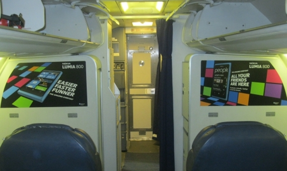 Bulkhead Seat Advertising on Airplane